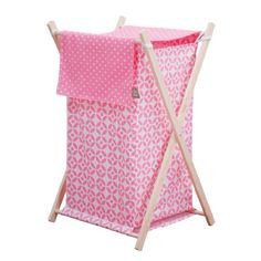 #kidsstore The #lily hamper by #Trend Lab is a decorative solution for quick clean up. The circular lattice print body and coordinating dot print outer flap easil...