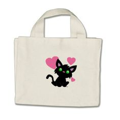Valentine's Day Black Kitty Tote Bag - heart gifts love hearts special diy