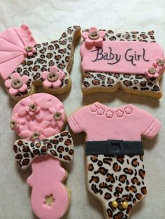 Leopard print  and pink baby girl cookies change the leopard to zebra for me ;)