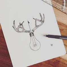 Lovely antlers! You can find this design as temporary tattoo on my sheet I…