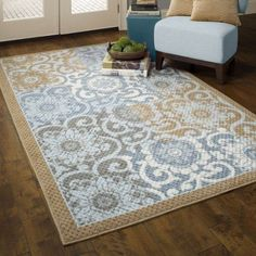 Better Homes and Gardens Blue Blocks Area Rugs or Runners Image 1 of 3