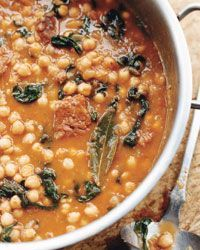 Chickpea Stew with Spinach and Chorizo. This stew, like all those in Catalonia, starts with a sofrito, a thick sauce made with sautéed onions and tomatoes. Once you get all the ingredients in the pot, there's not much to do besides enjoy the aroma wafting