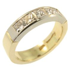18ct Yellow & White Gold Princess Cut Diamond set wedding band handmade at Cameron Jewellery by Peter Cameron