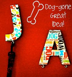 dog's leash holder by decoupaging the first letter of your pets name and add a hook! Dog Crafts, Animal Crafts, Adult Crafts, Dog Leash Holder, Cat Leash, Dog Day Afternoon, Saturday Morning, Diy Letters, Diy Stuffed Animals