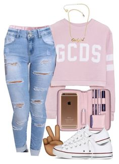 """G C D S x Versace"" by mindless-asia ❤ liked on Polyvore featuring Lili Radu, Rare London, VidaKush and Converse"