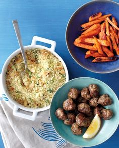Couscous and Roasted Carrots with Spiced Meatballs
