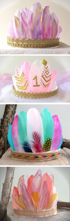 Sunset Feather Crown - Fits Baby Girl , Child , Adult , Girls Feather Headdress - Crafts Diy Home Feather Crown, Feather Headdress, Feather Headband, 1st Birthday Parties, Girl Birthday, Birthday Ideas, Craft Projects, Kids Crafts, Halloween Crafts For Kids