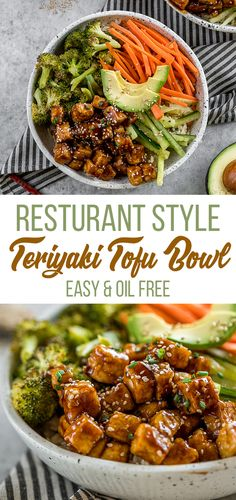 Get ready to dive into your new favorite entree! This restaurant-style teriyaki tofu bowl makes for the perfect for a lunch or dinner at home or meal on the go! #onthego #work #school #teriyaki #sauce #homemade #vegan #veganjapanese #condiment #oilfree #healthier #entree #lunch #dinner #mustmake #easyvegan #foolproof