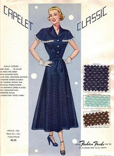 "Fashion Frocks ""Capelet Classic"" 1950 Calling all ""half-sizers""! Sales sample card for Style from the 1950 collection. Vintage Dress Patterns, Vintage Dresses, Vintage Outfits, 1950s Fashion, Vintage Fashion, Look Retro, 20th Century Fashion, Fashion Marketing, Retro Pattern"