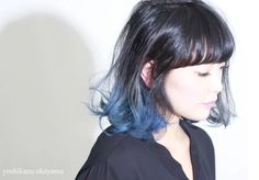 Blue frosted ombre for black hair