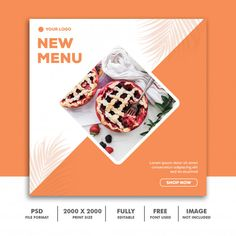 Social media post template square banner... | Premium Psd #Freepik #psd #banner #food #sale #template Food Graphic Design, Food Poster Design, Graphic Design Posters, Brochure Design, Branding Design, Ad Design, Web Banner Design, Web Banners, Free Banner Templates