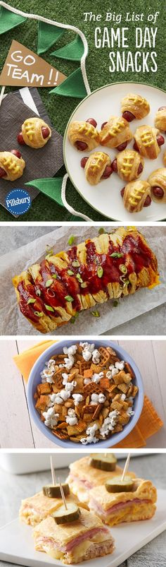 The Big List of Game Day Snacks is part of Best snack mix recipes Super Bowl - Whether you're bringing or hosting, Game Day is all about the food, and these snacks will have the people cheering for Game Day Snacks, Snacks Für Party, Game Day Food, Appetizers For Party, Appetizer Recipes, Tailgating Recipes, Tailgate Food, Football Recipes, Football Snacks