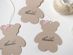 Teddy bear baby shower favor tags, Girl baby shower thank you tags, Teddy bear…