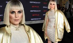 Noomi Rapace wears shimmery bodycon dress and shiny jacket https://cstu.io/a654a5