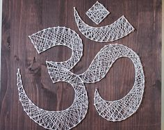 Om Wall Art, Meditation Sign, String Art Omkara, Aumkara DIY String Art, Pranava Art Project, Do it Yourself Nail Art, Yoga Wall Art 16 x 16