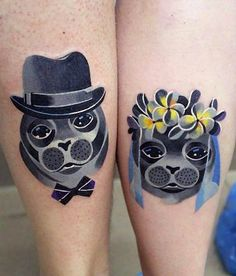 so so so cute, you don't want to miss this set of matching tattoo for Mr and Ms doggies :)