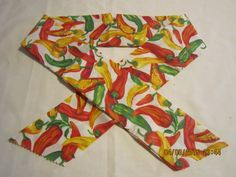 """Extra Wide 3"""" Reusable Non-Toxic Cool Wrap / Neck Cooler  - Peppers - Hot Peppers on White by ShawnasSpecialties on Etsy"""