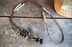 Brown and silver eyeglasses chaineyeglass by LUNAdeCOCO on Etsy