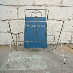 Vintage Magazine Rack Retro Atomic Era Metal Magazine by viAnneli, $22