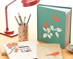 Martha Stewart Birds & Berries Desk Accessories  Soft, simple silhouette stencil designs add a splash of color and understated elegance to blank books, photo albums, and everyday accessories  plaidonline.com