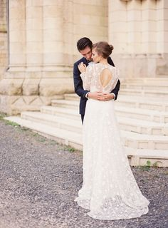 Dreamy long sleeve lace wedding gown: http://www.stylemepretty.com/2016/04/18/french-chateau-wedding-inspiration-to-sweep-you-off-your-feet/ | Photography: Kayla Barker - http://kaylabarker.com/