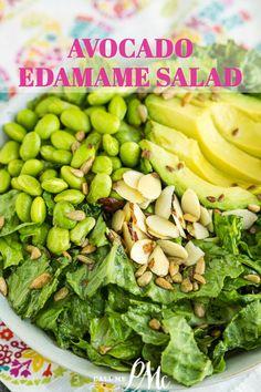 Avocado Edamame Salad Recipe is a superfood dream! It's loaded with lettuce, avocado, edamame, cilantro, green onions & lime vinaigrette. #salad #recipe #callmepmc #avocado #edamame #lime Best Vegetable Recipes, Whole Food Recipes, Cooking Recipes, Best Side Dishes, Side Dish Recipes, Easy Recipes, Lime Salad Dressing, Honey Lime Vinaigrette, Edamame Salad