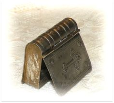Vintage Pill Box Prayer Book Bible Motif by RosePetalResources, $48.00