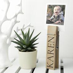 Personalised Wooden Peg Photo Holder