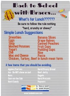 Back to School with Braces... What's for lunch??? #backtoschoolwithbraces #londonontarioorthodontist Braces Food, Braces Tips, Kids Braces, Dental Braces, Teeth Braces, Foods For Braces, Dental Care, Soft Food For Braces, Braces Problems