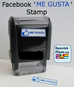 Facebook Me Gusta Stamp. Your students will love getting their papers marked with this self-inking stamp. A Spanish Teacher's dream stamp.