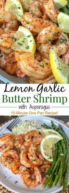 Lemon Garlic Butter Shrimp with Asparagus - this is an easy light and healthy dinner option that is cooked in one pan and can be on your table in 15 minutes. Buttery shrimp and asparagus flavored with lemon juice and garlic. Only 309 calories per serving! Best Fish Recipes, Tilapia Fish Recipes, Salmon Recipes, Seafood Recipes, Dinner Recipes, Healthy Recipes, Seafood Meals, Paleo Ideas, Seafood Dinner