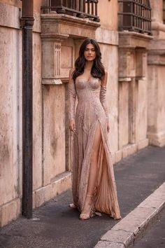 Rose Gold Formal/Prom Gown - Alamour The Label Pretty Prom Dresses, Elegant Dresses, Beautiful Dresses, Formal Dresses, Formal Prom, Rose Gold Dresses, Stylish Dresses For Girls, Look Fashion, Fashion Outfits