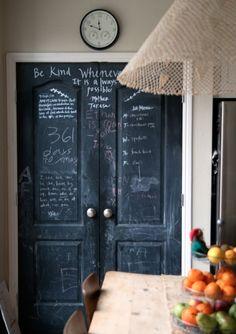 wood table + chalkboard door