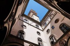 View of Arnolfo tower from the courtyard of Michelozzo, Palazzo Vecchio, Florence, Italy