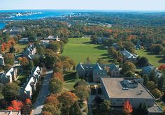 Aerial view: Connecticut College w/Long Island Sound in the distance.