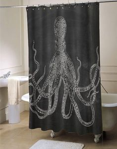 octopus black shower curtain #showercurtain #showercurtains #curtain #curtains #bath #bathroom #funnycurtain #cutecurtain