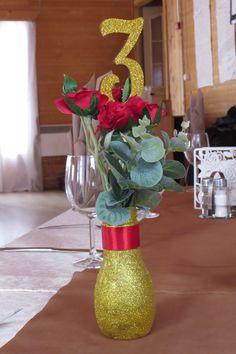 свадьба шоколад + золото номерки столов