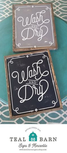 WASH and DRY Laundry Room Sign  --  Hand Painted Wood Chalkboard Farmhouse Frame Magnolia Fixer Upper Joanna by TealBarnSigns on Etsy https://www.etsy.com/listing/515464853/wash-and-dry-laundry-room-sign-hand