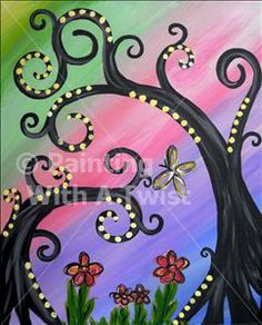 Funky Rainbow Trees - Arlington, TX Painting Class - Painting with a Twist - Thursday, May 09 - RSVP