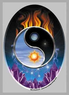 Yin-Yang; although this is a print, it seems it could inspire a stained glass composition created from wavy/streaked glass pieces. Description from pinterest.com. I searched for this on bing.com/images Arte Yin Yang, Ying Y Yang, Yin Yang Art, Tatuajes Yin Yang, Yin Yang Tattoos, Moon Sun Tattoo, Sun Moon, Yin Yang Significado, Ying Yang Wallpaper