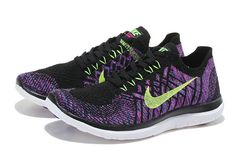 separation shoes 94da4 2ca9d Nike WMNS Free 4.0 V2 Flyknit 2015 Black Hyper Grape Violet Volt Poison  Green Shoes Sneakers