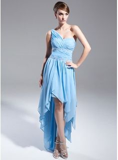 Prom Dresses - $155.99 - A-Line/Princess One-Shoulder Asymmetrical Chiffon Prom Dress With Ruffle Beading  http://www.dressfirst.com/A-Line-Princess-One-Shoulder-Asymmetrical-Chiffon-Prom-Dress-With-Ruffle-Beading-018015019-g15019