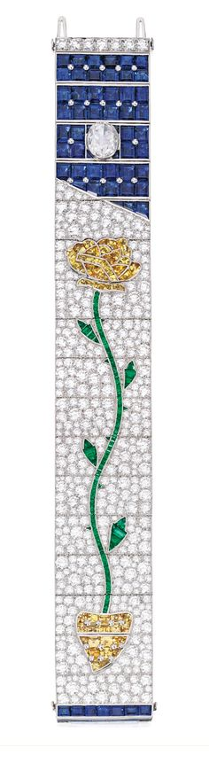 PLATINUM, DIAMOND AND COLORED STONE 'ROSE' BRACELET, TIFFANY & CO.