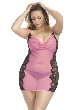 Douce Plus Size Cowl Neck Babydoll - Varela Intimates - #pink #shopvarela #lingerie #plussize #curvy