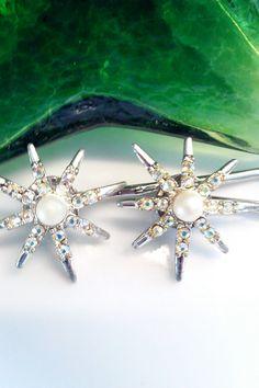 Romantic Vintage Emmons Starburst Bobby Pins by bluehoneyjewelry, $28.00