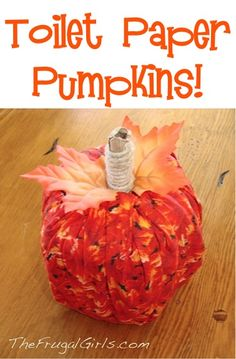 Toilet Paper Pumpkins! ~ from TheFrugalGirls.com ~ this fun little Fall craft comes together in a snap! #pumpkin #crafts #thefrugalgirls