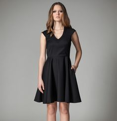 Citadel Dress by Canadian fashion designer Jennifer Glasgow. Cap sleeve v-neck dress with pockets available in black or navy. Ethically made in Montreal, Canada. Glasgow, V Neck Dress, Cap Sleeves, How To Make, How To Wear, Fall Winter, Dresses For Work, Montreal Canada, Fashion Design