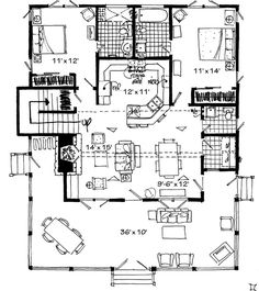 Bunkhouse Plans 387802217899784592 - make full bath in master a closet. No stairs this will be wine room . Make it look like 1555 sq (whisper creek ) from outside Source by ricahopf Best House Plans, Small House Plans, House Floor Plans, Tech Room, Southern Living House Plans, Grand Kitchen, Two Bedroom Suites, Cottage House Plans, Cottage Ideas