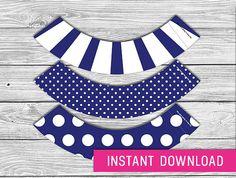 Printable Cupcake Wrapper - Navy Blue (instant download, cupcake wrappers, cupcake liner, baby shower, baby boy, first birthday, wedding)