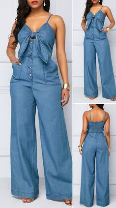 Knot Front Spaghetti Strap Denim Jumpsuit - New Site Denim Fashion, Fashion Pants, Fashion Outfits, Womens Fashion, Fall Fashion, Style Fashion, Classy Fashion, Fashion Trends, Jumpsuit Outfit